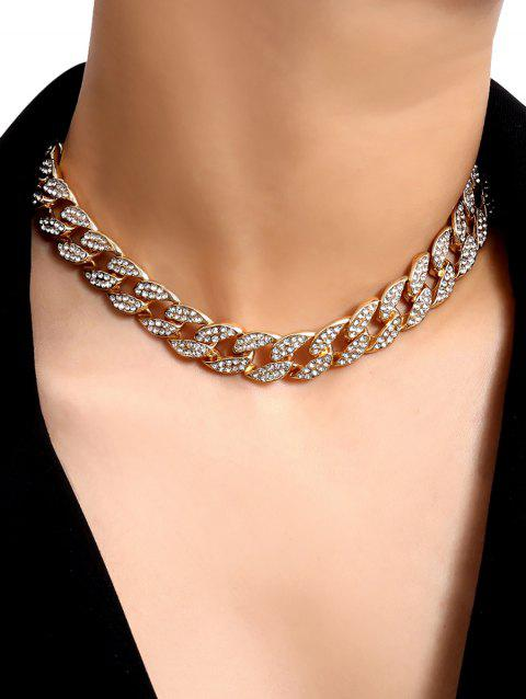 Curb Chain Rhinestone Choker Necklace