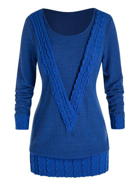 Plus Size Ribbed Cable Knit Sweater