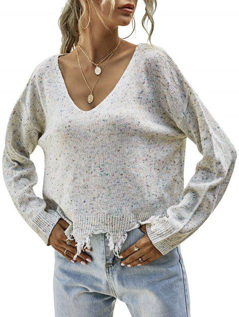Sharkbite-trim Heathered Sweater