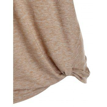 Long Sleeve Twist Front Heathered T-shirt