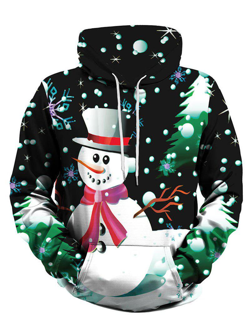Christmas Tree Snowman Front Pocket Plus Size Hoodie - GREEN 2XL