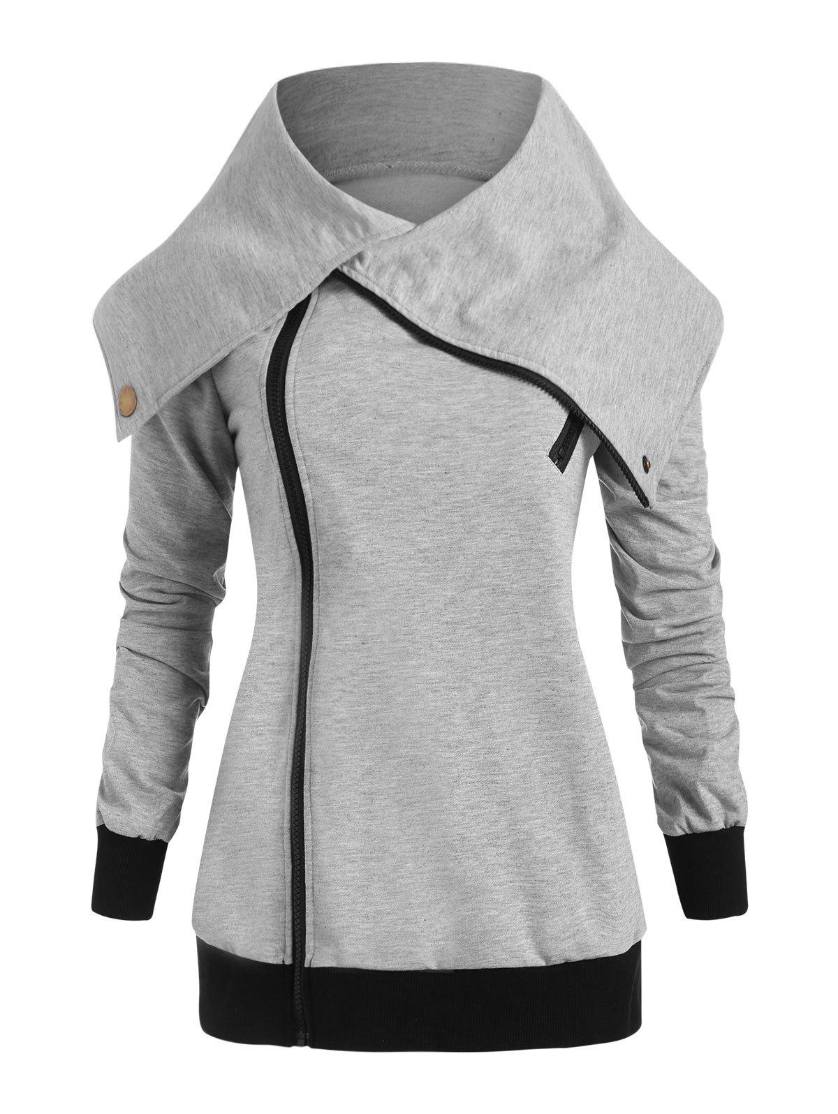 Plus Size Side Zipper Jacket - GRAY 2X