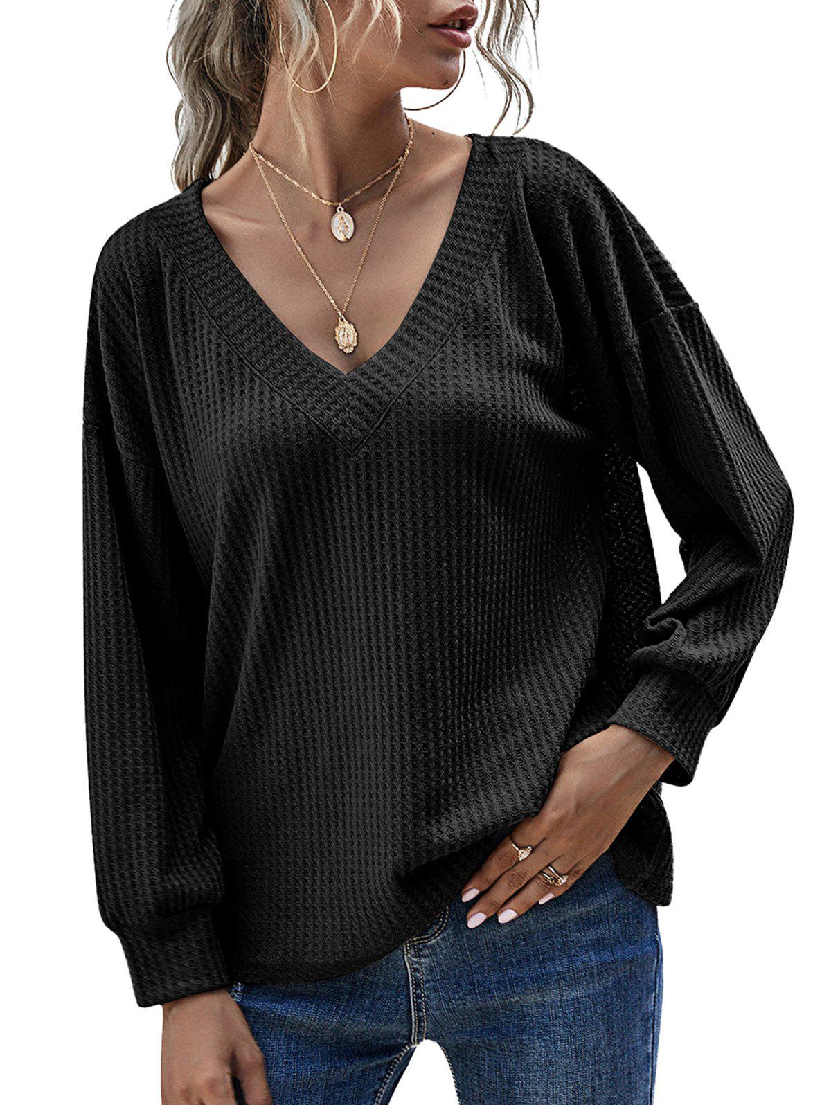 V Neck Honeycomb Knitwear - BLACK S