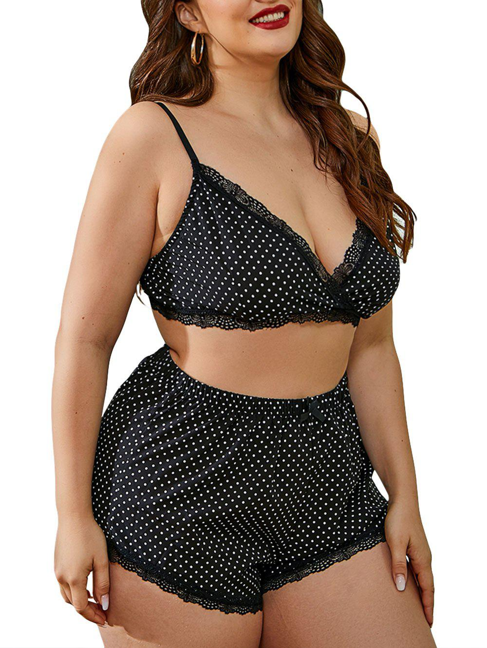 Plus Size Polka Dot Plunge Lingerie Set - BLACK 3XL