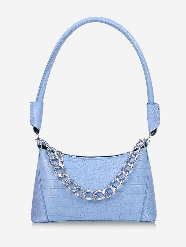Solid Textured Chain Shoulder Bag - BLUE GRAY