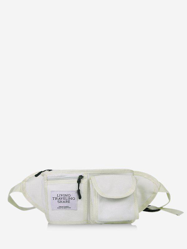 Retro Canvas Pockets Crossbody Bag - MILK WHITE
