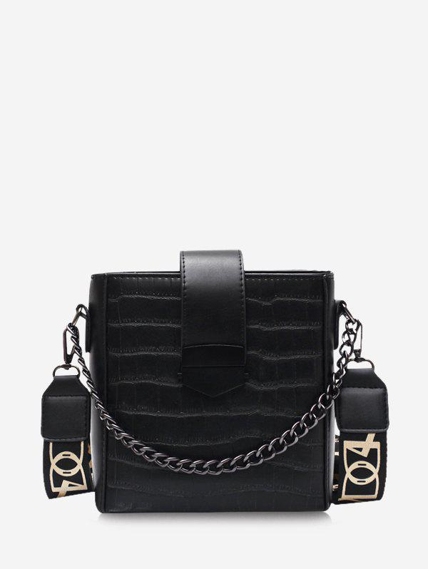 Retro Square Chain Wide Strap Crossbody Bag - BLACK