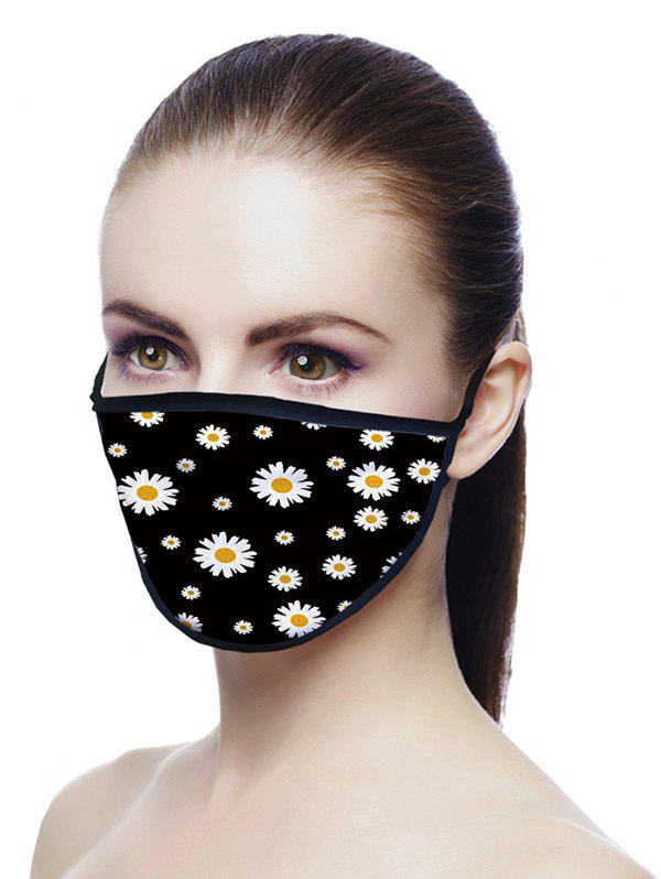Daisy Printed Air Layer Fabric Face Mask - BLACK 18*13CM