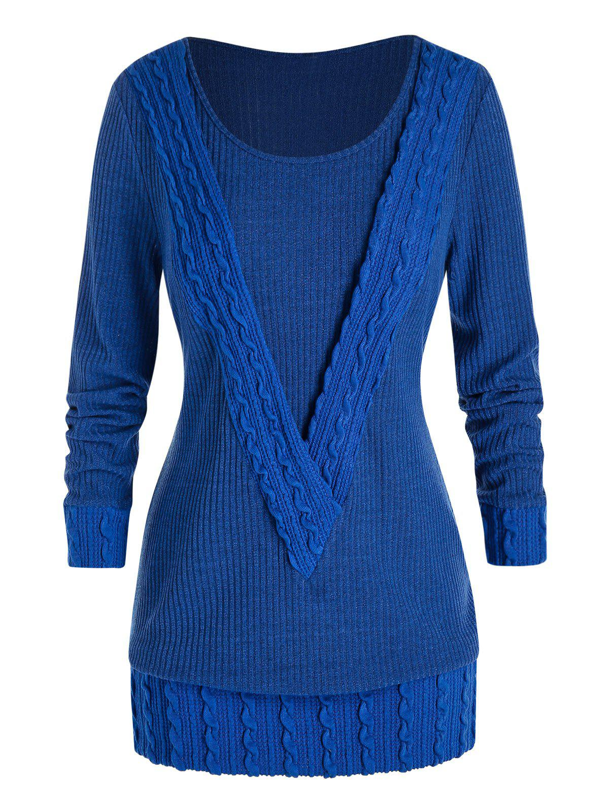 Plus Size Ribbed Cable Knit Sweater - BLUEBERRY BLUE 5X