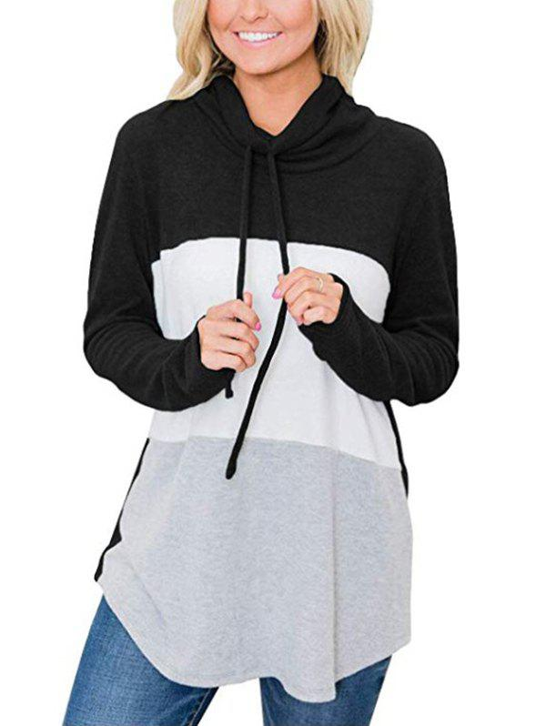 Cowl Neck Colorblock Jersey Sweatshirt - BLACK S