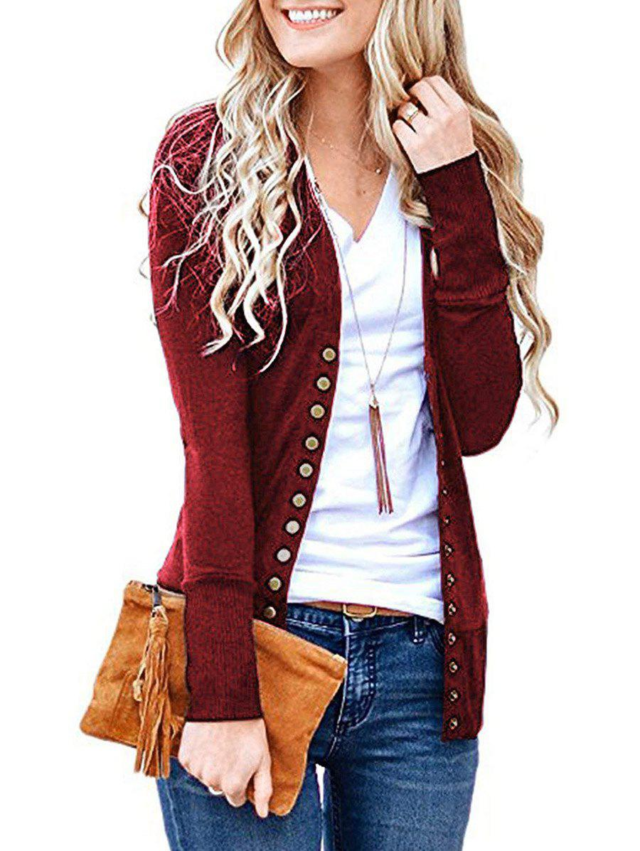 Snap Button Front Jersey Cardigan - DEEP RED XL