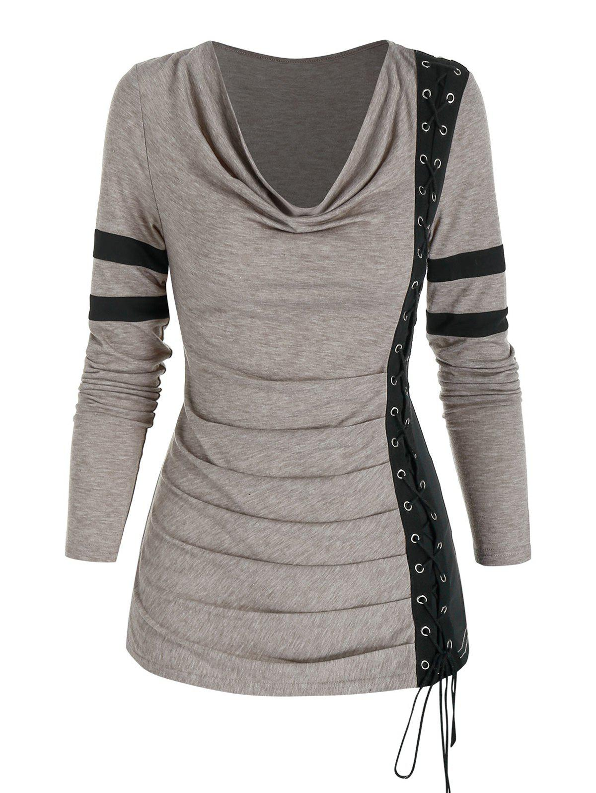 Cowl Neck Ruched Lace Up Eyelet Tee - LIGHT COFFEE 3XL