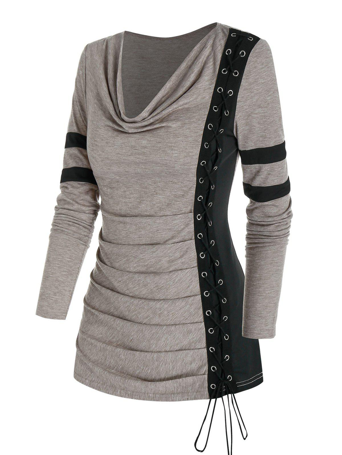Cowl Neck Ruched Lace Up Eyelet Tee - LIGHT COFFEE M