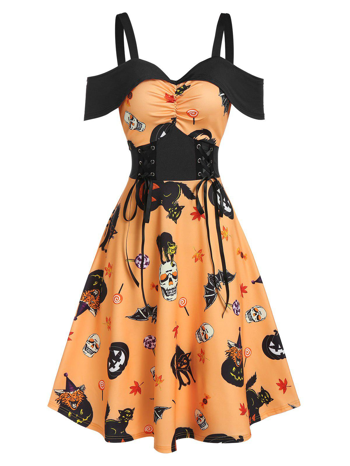 Halloween Pumpkin Animal Print Lace Up Ruched Midi A Line Dress - BEE YELLOW 3XL