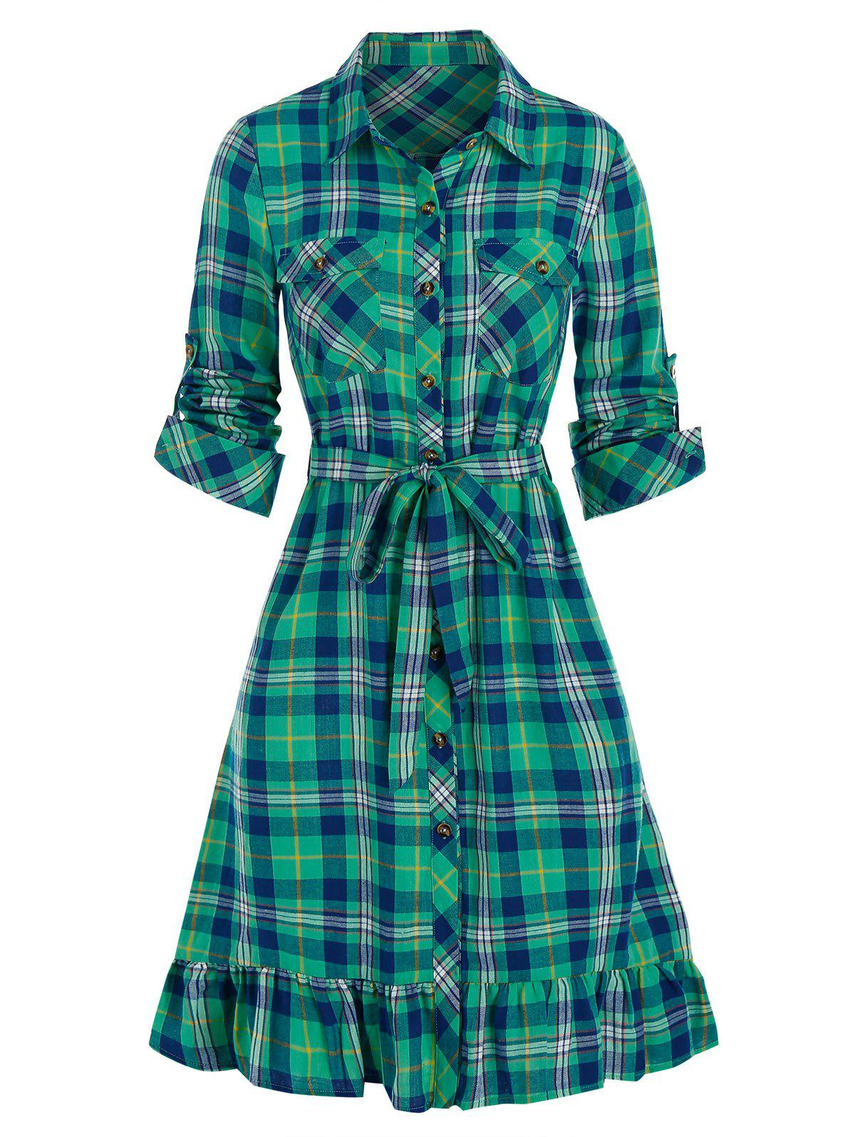 Plaid Print Double Pockets Belted Shirt Dress - BLUE HOSTA M