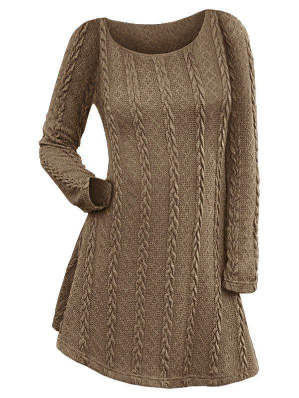 Cable Knit Long Sleeve Mini Jumper Dress - COFFEE XL