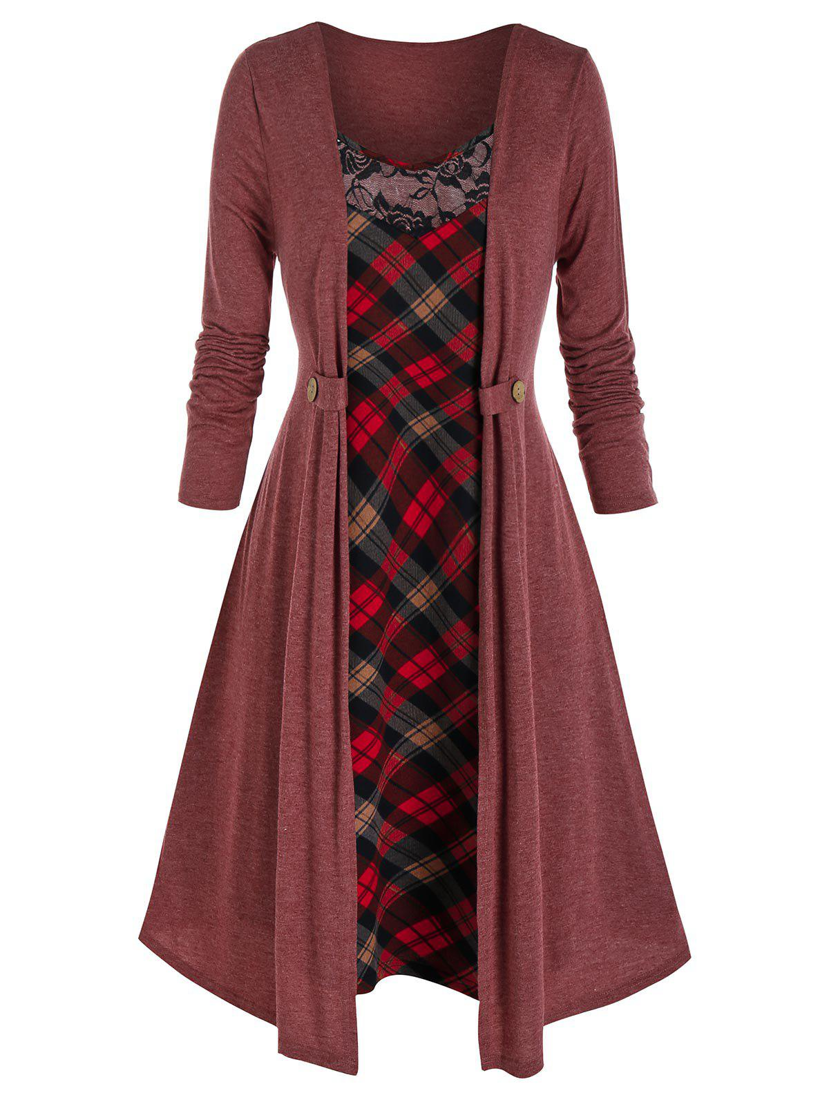 Plus Size Plaid Swing Dress and Cardigan Set - RED WINE 4X