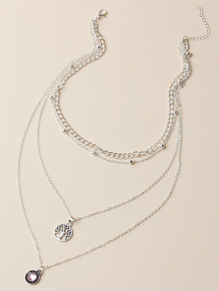Hollow Out Tree Pendant Layered Necklace - SILVER