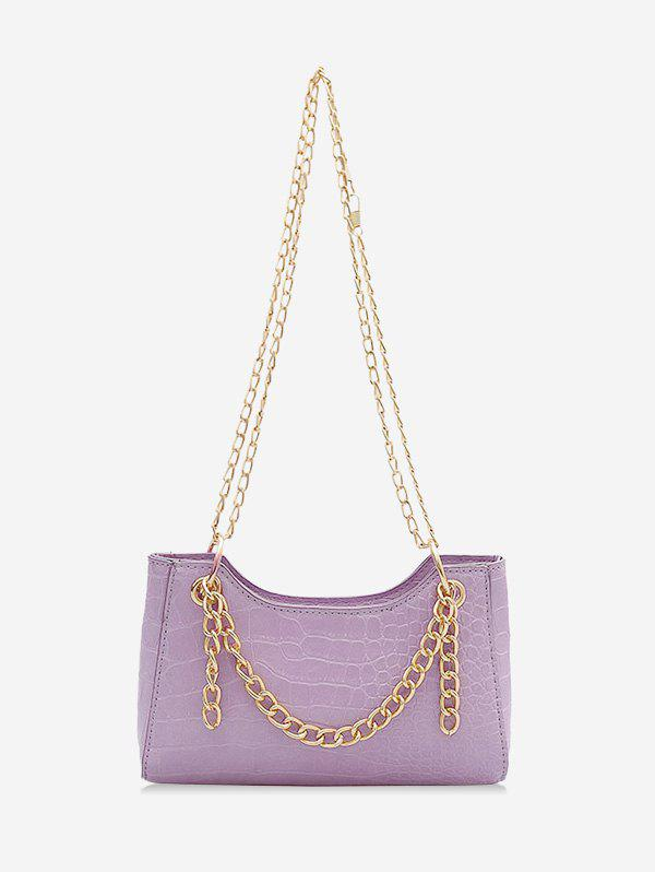 Brief Chain Embossed Shoulder Bag - LILAC