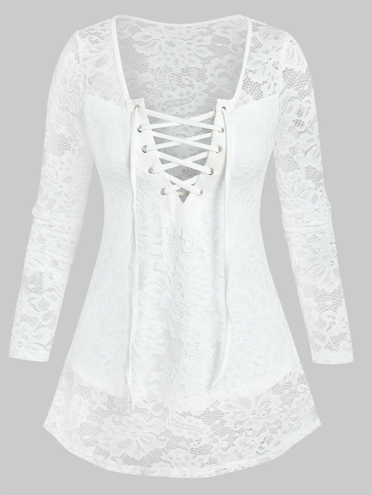 Lace-up Notched Flower Lace Blouse - WHITE 3XL