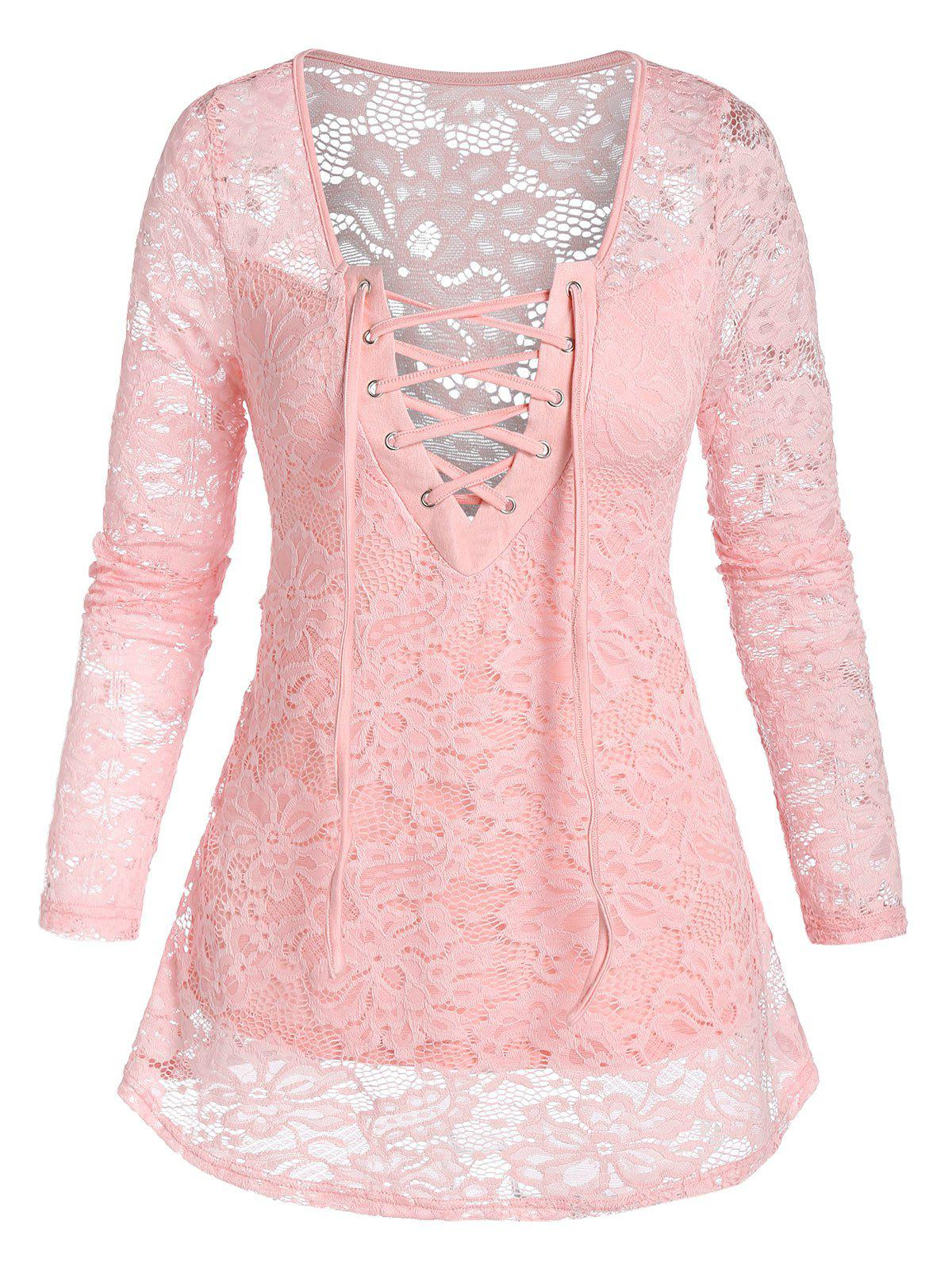 Lace-up Notched Flower Lace Blouse - PIG PINK 2XL