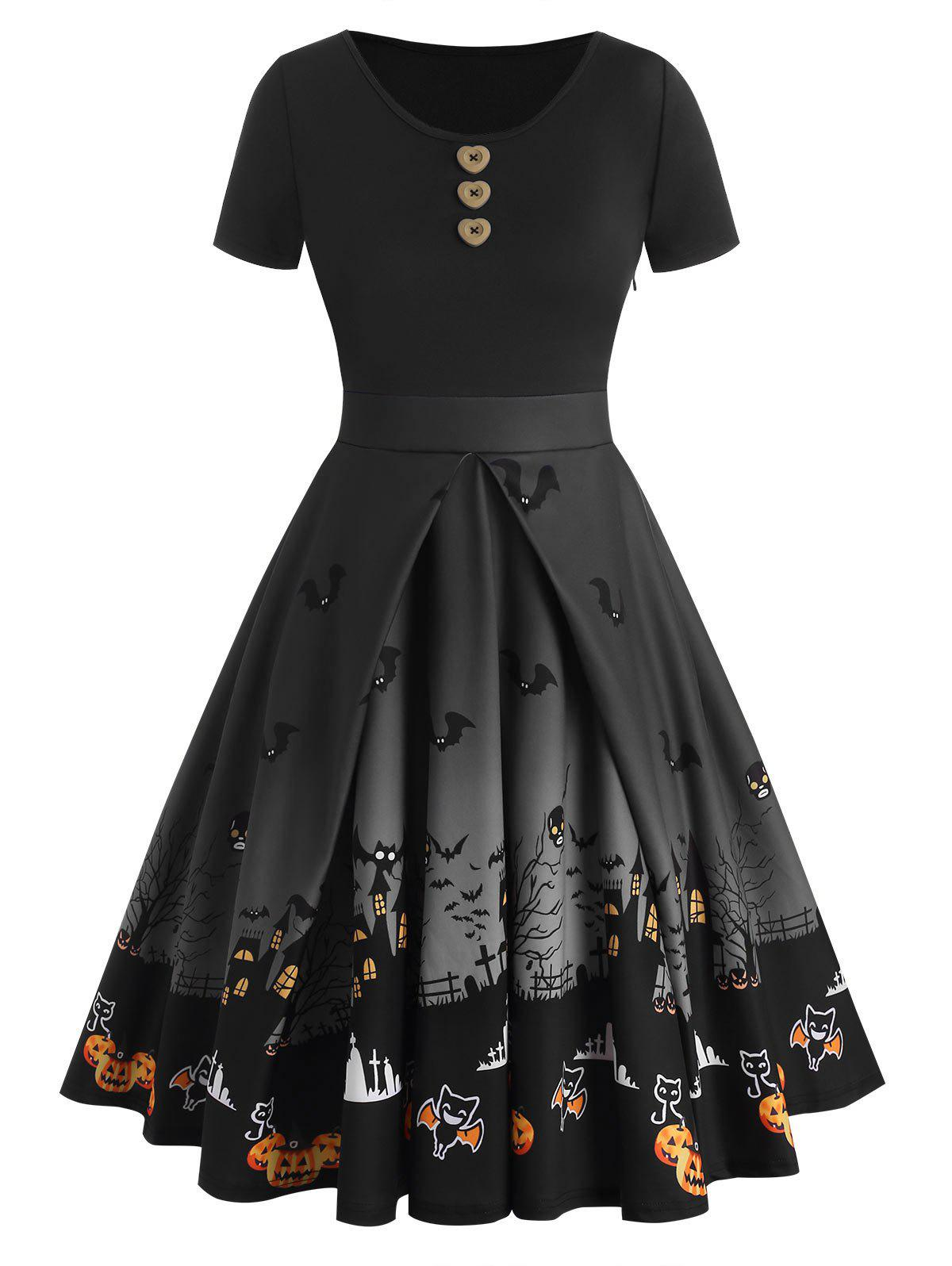 Halloween Buttons Bat Pumpkin Castle Print Dress - NATURAL BLACK 3XL
