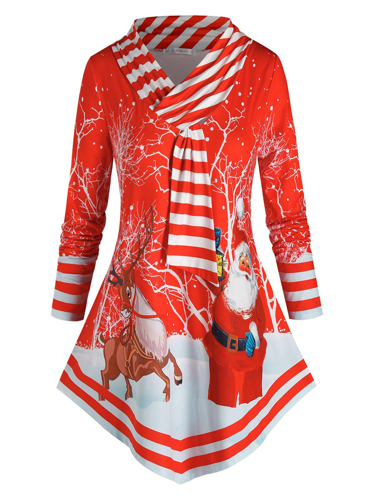 Plus Size Christmas Striped Santa Claus Long Sleeve Tee - RED 5X