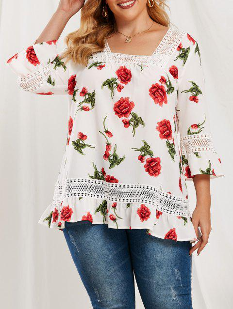 Plus Size Lace Splicing Ruffle Floral Pattern Blouse