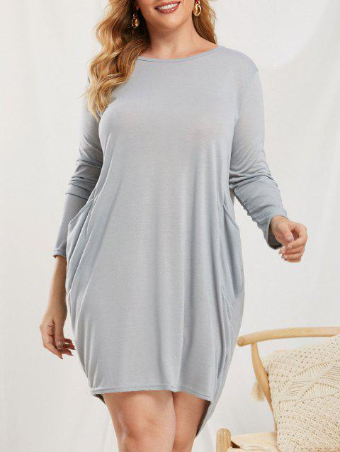 Plus Size Pockets High Low Baggy Dress
