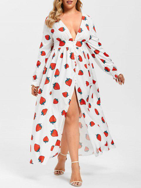 Plus Size Strawberry Print Plunge Maxi Dress
