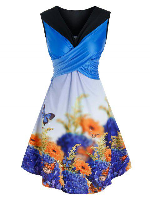 Garden Butterfly Floral Print Crossover Dress