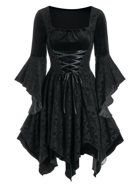 Halloween Skull Lace Insert Velvet Handkerchief Dress