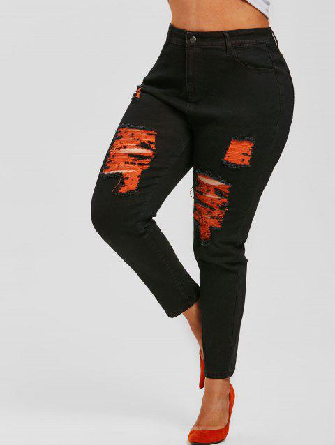 Plus Size Contrast Distressed Skinny Jeans