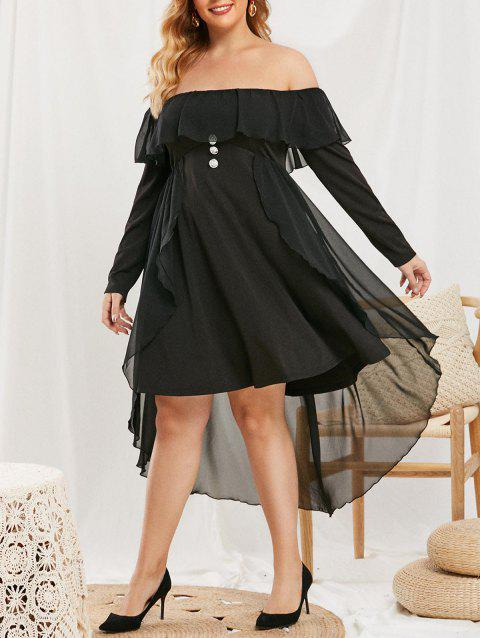 Plus Size Off The Shoulder Ruffled Mesh Overlay Dress