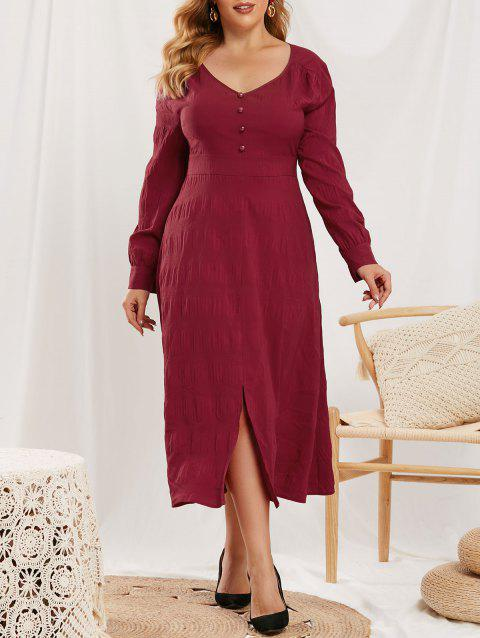 Plus Size Slit Mock Button V Neck Dress