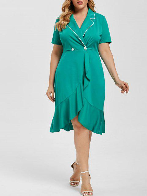 Double Breasted Flounces Lapel Plus Size Dress