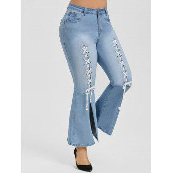 Plus Size High Waist Lace Up Flare Jeans