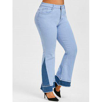 Plus Size Two Tone Frayed Bell Bottom Jeans