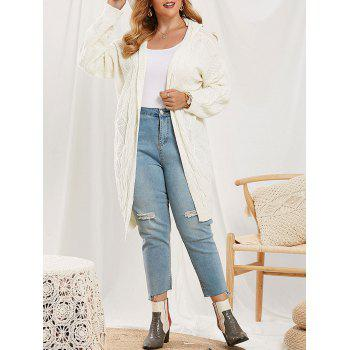 Cable Knit Hooded Open Front Plus Size Cardigan