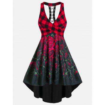 Sleeveless Plaid Rose Flower Print Lace-up Crossover High Low Dress