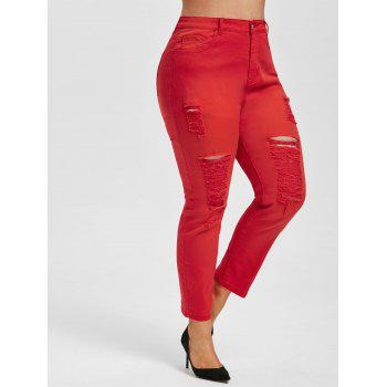 Plus Size Colored Ripped Skinny Pencil Jeans