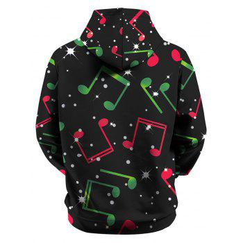 Snowman Music Note Front Pocket Christmas Plus Size Hoodie