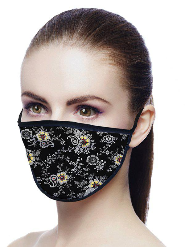 Floral Paisley Printed Air Layer Fabric Face Mask - NIGHT 18*13CM