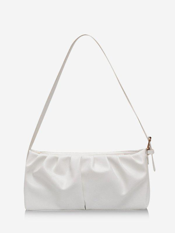 Solid Pleated Rectangle Shoulder Bag - MILK WHITE