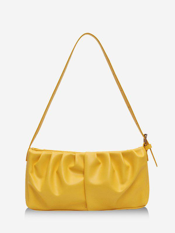 Solid Pleated Rectangle Shoulder Bag - YELLOW