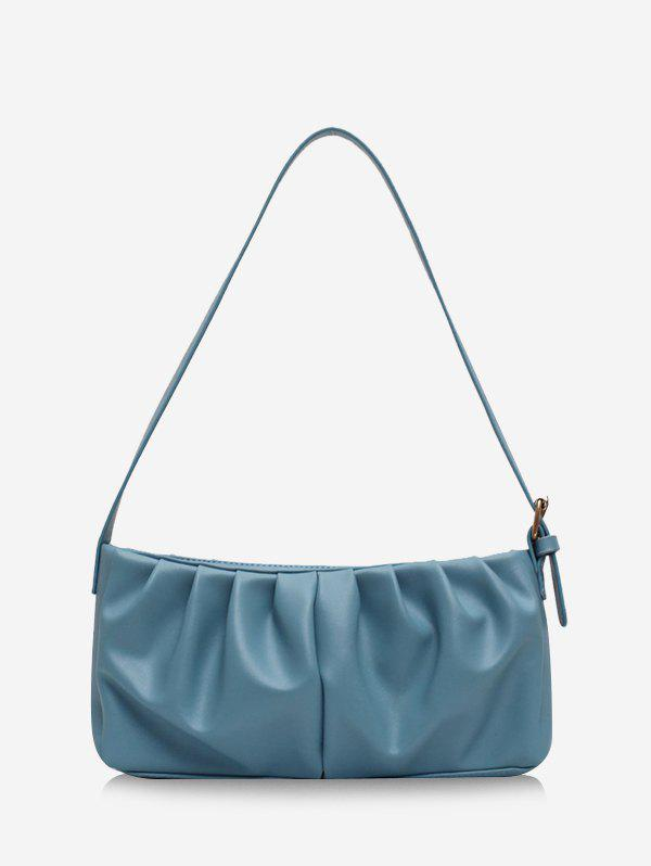 Solid Pleated Rectangle Shoulder Bag - BLUE GRAY