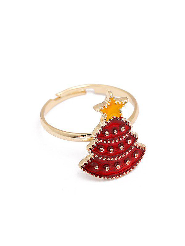 Christmas Adjustable Open Glazed Ring - multicolor A