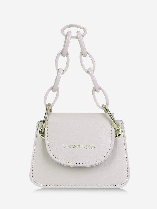 Chain Cover Mini Hand Bag - WHITE