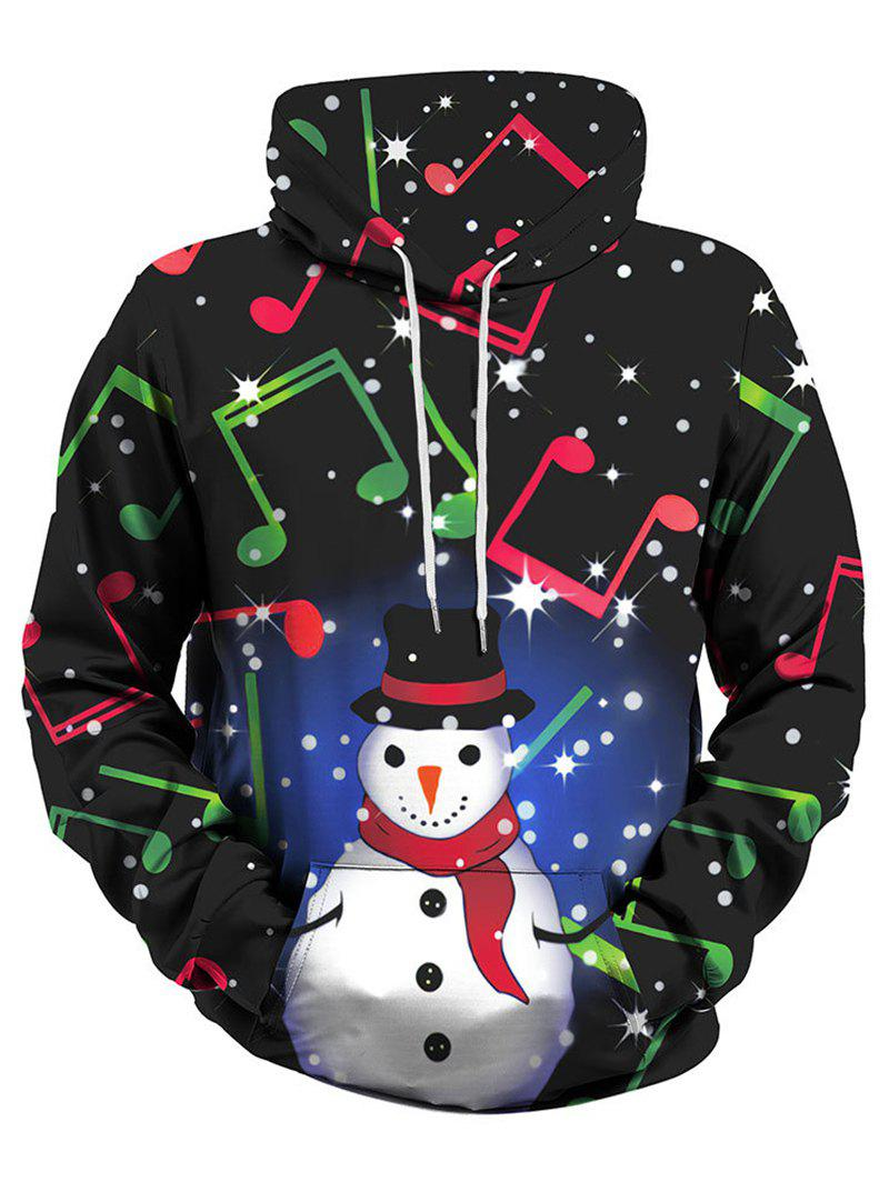 Snowman Music Note Front Pocket Christmas Plus Size Hoodie - GREEN M