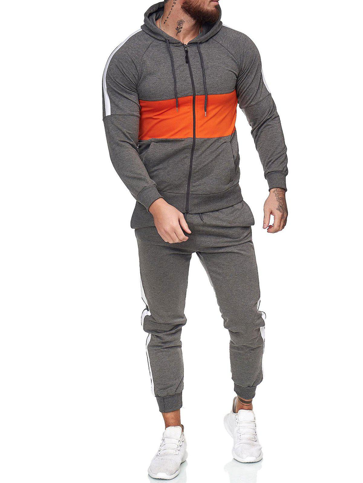 Contrast Zip Up Hoodie Jacket and Pants Two Piece Sports Set - DARK GRAY L